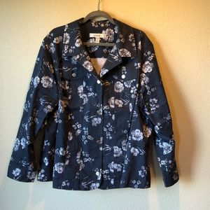 Blue with white flowered stretch jacket